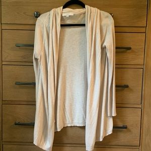 Loft tan drapey cotton cardigan L